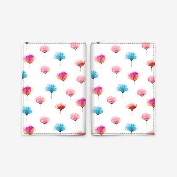 Обложка для паспорта «Акварельный паттерн с абстрактными цветами»