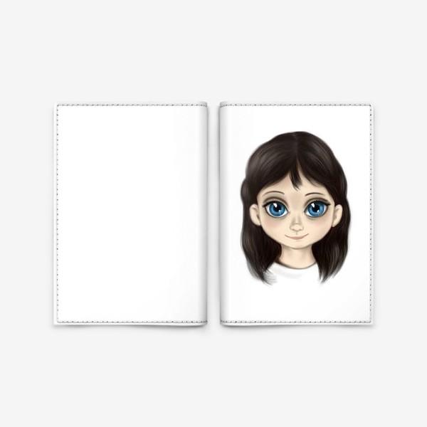 Обложка для паспорта «Маленькая девочка со взглядом лучистым. Большие глаза»