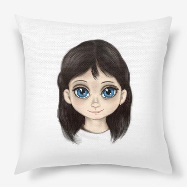 Подушка «Маленькая девочка со взглядом лучистым. Большие глаза»