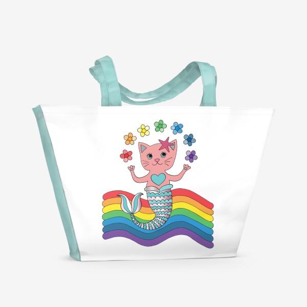 Пляжная сумка «Кот-русалка»