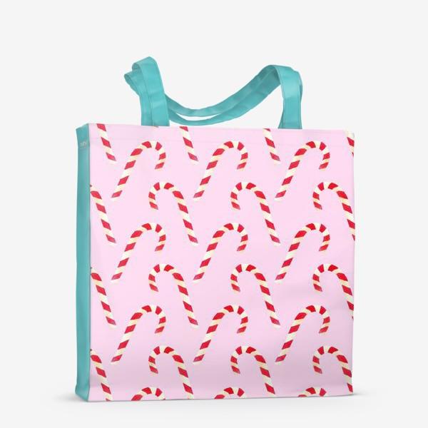 Сумка-шоппер «новогодний узор из конфет леденцов кенди кейн на розовом фоне»