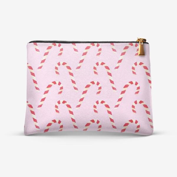 Косметичка «новогодний узор из конфет леденцов кенди кейн на розовом фоне»