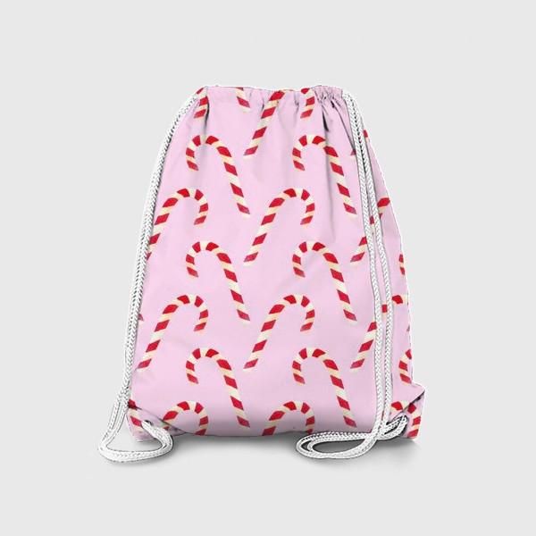 Рюкзак «новогодний узор из конфет леденцов кенди кейн на розовом фоне»