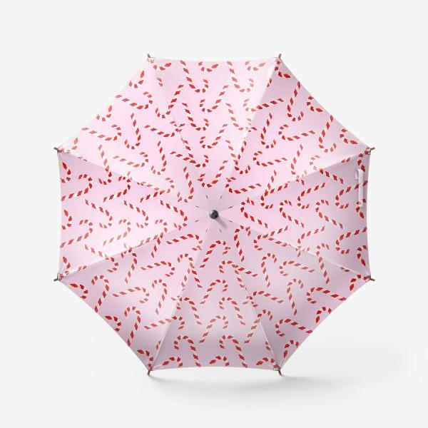 Зонт «новогодний узор из конфет леденцов кенди кейн на розовом фоне»