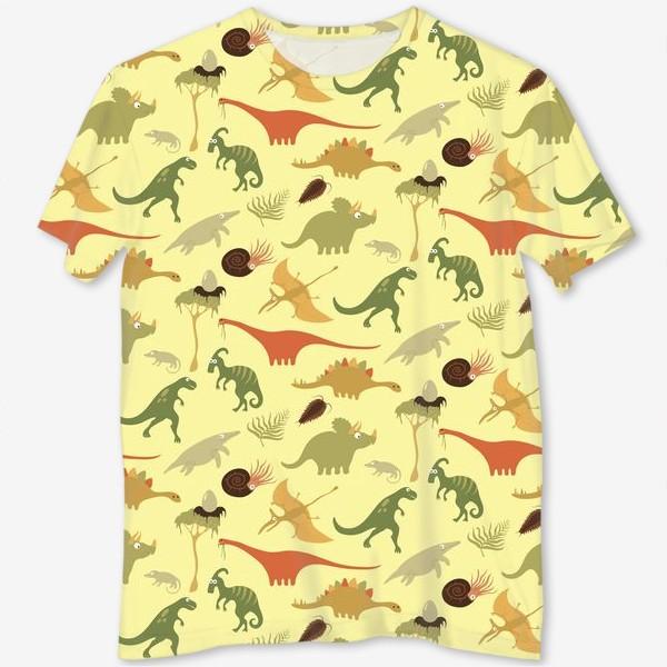 Футболка с полной запечаткой «Динозаврики»