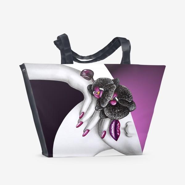 Пляжная сумка «Чёрная орхидея»