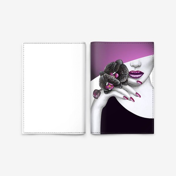 Обложка для паспорта «Чёрная орхидея»