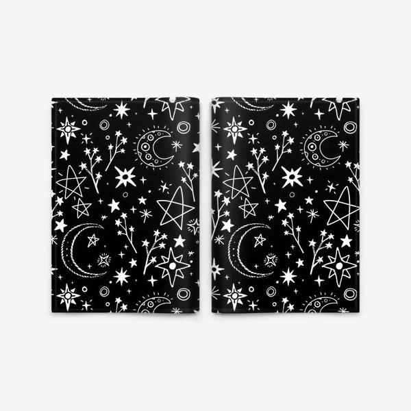 Обложка для паспорта «Звездное небо в стиле дудл»