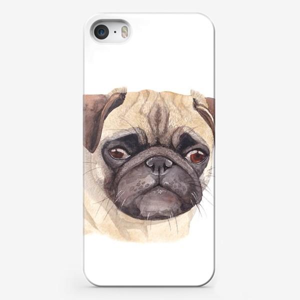 Чехол iPhone «Грустный мопс»