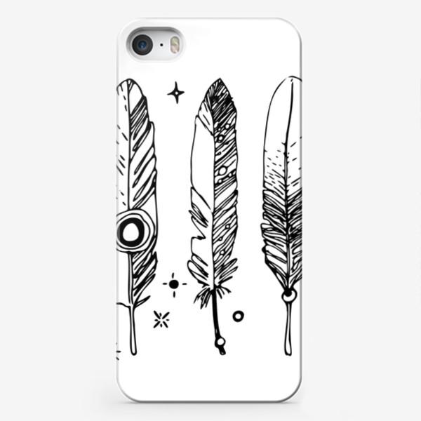 Чехол iPhone «Набор черно-белых перьев»