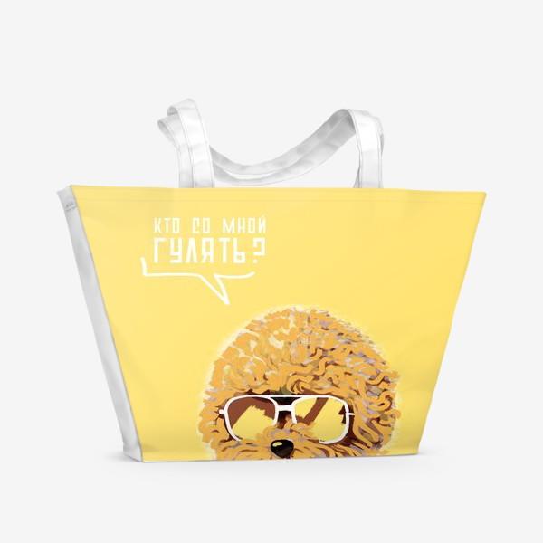 Пляжная сумка «Кто со мной гулять? Пудель в очках. Жизнь после карантина»