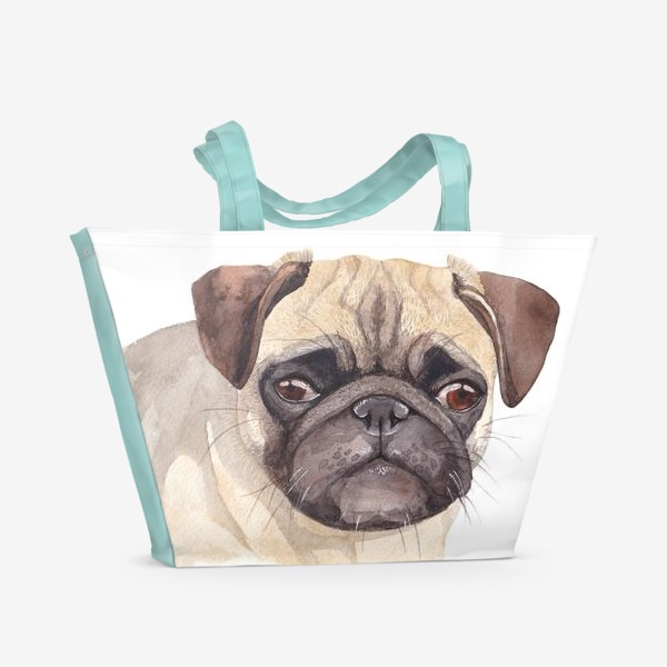 Пляжная сумка «Грустный мопс»