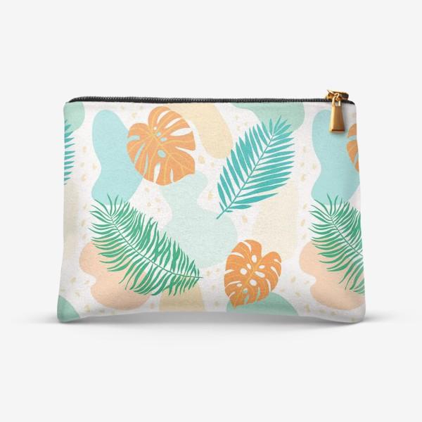 Косметичка «Современный абстрактный паттерн с тропическими листьями растений:  монстеры и пальмы. Зеленый, бирюзовый, оранжевый»
