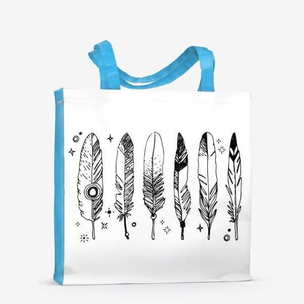 Сумка-шоппер «Набор черно-белых перьев»