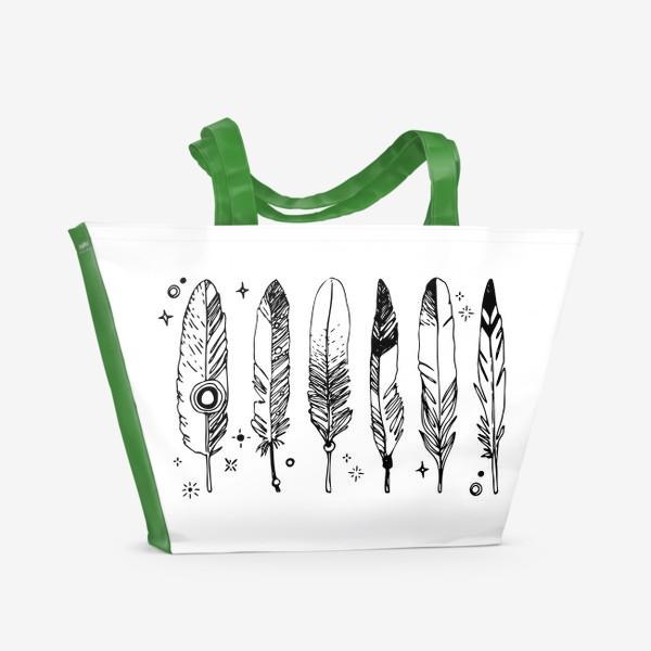 Пляжная сумка «Набор черно-белых перьев»