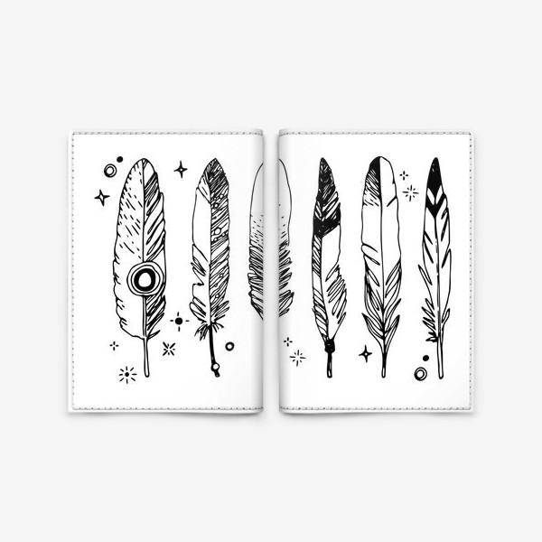 Обложка для паспорта «Набор черно-белых перьев»
