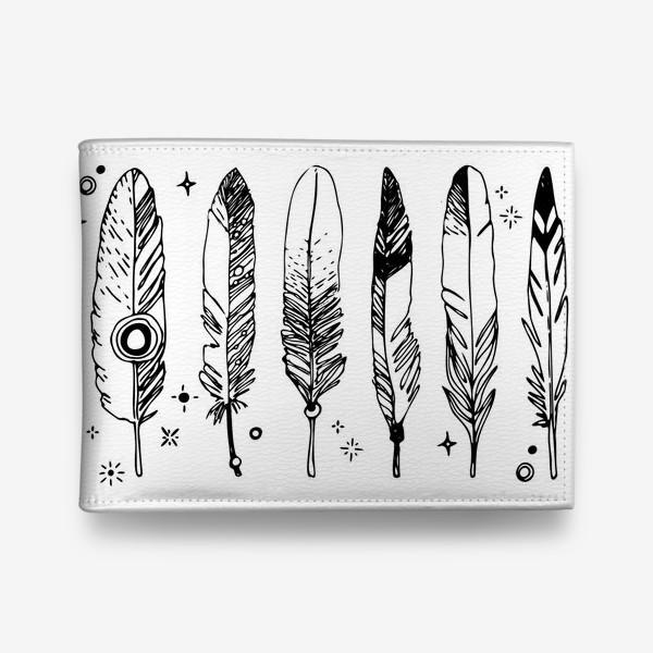 Кошелек «Набор черно-белых перьев»