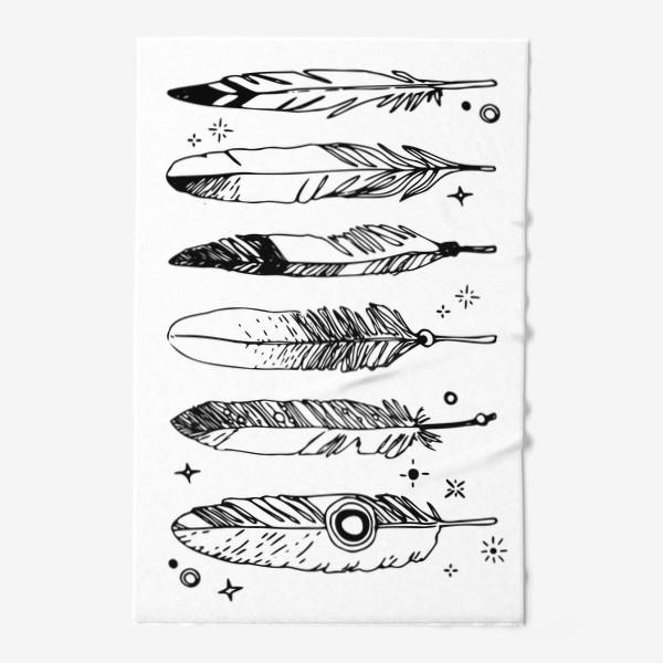Полотенце «Набор черно-белых перьев»