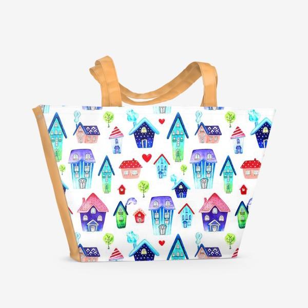 Пляжная сумка «Домики паттерн»