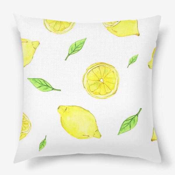 Подушка «Яркие желтые лимоны»