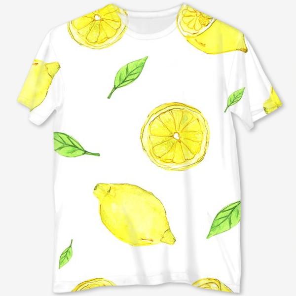 Футболка с полной запечаткой «Яркие желтые лимоны»