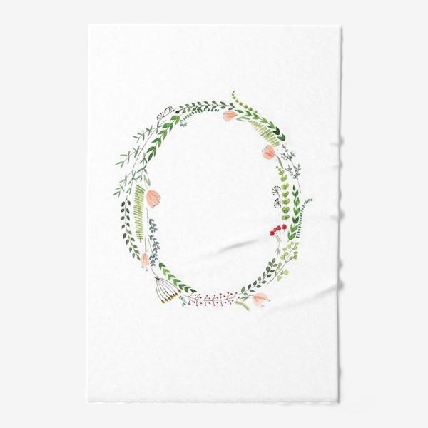 Полотенце «Буква О из листиков, веточек, ягод и цветов.»