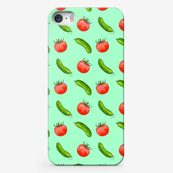 """Чехол iPhone «Паттерн """"помидорки + огурчики""""»"""