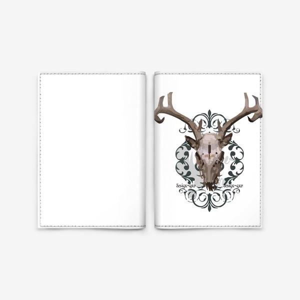 Обложка для паспорта «Череп оленя »