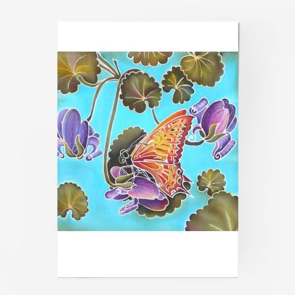 Постер «Цикламен и бабочка »