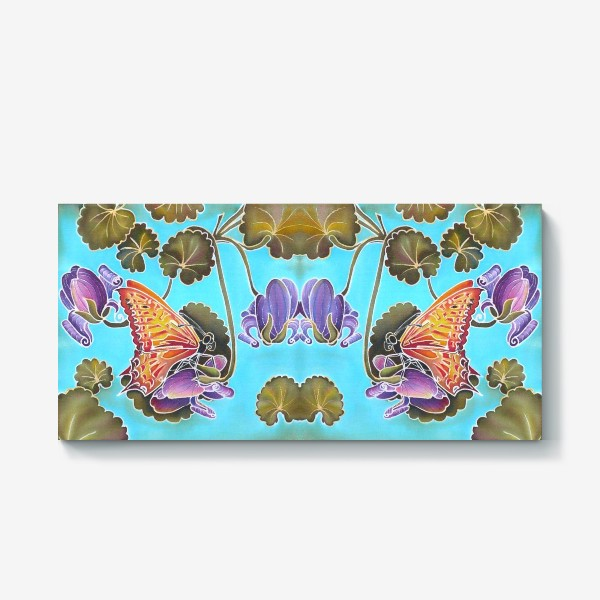Холст «Цикламен и бабочка »