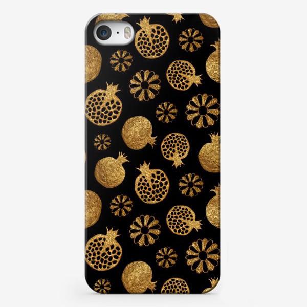 Чехол iPhone «Гранаты и цветы золотые»