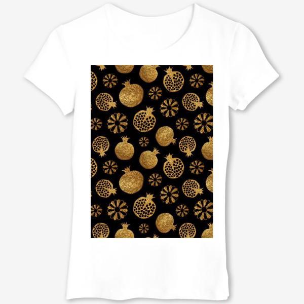 Футболка «Гранаты и цветы золотые»
