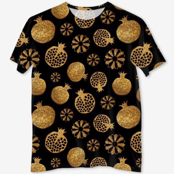 Футболка с полной запечаткой «Гранаты и цветы золотые»