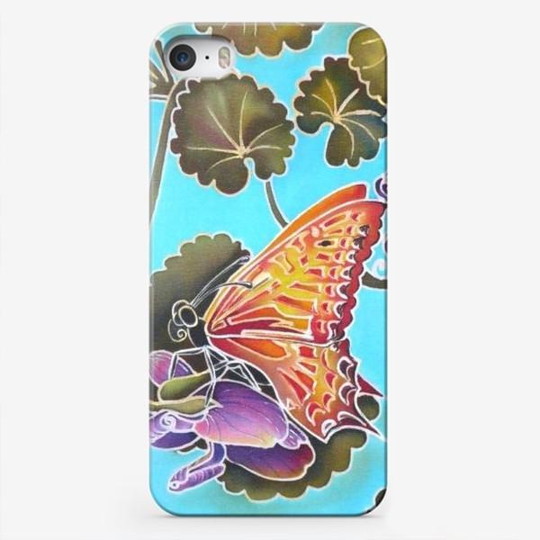 Чехол iPhone «Цикламен и бабочка »