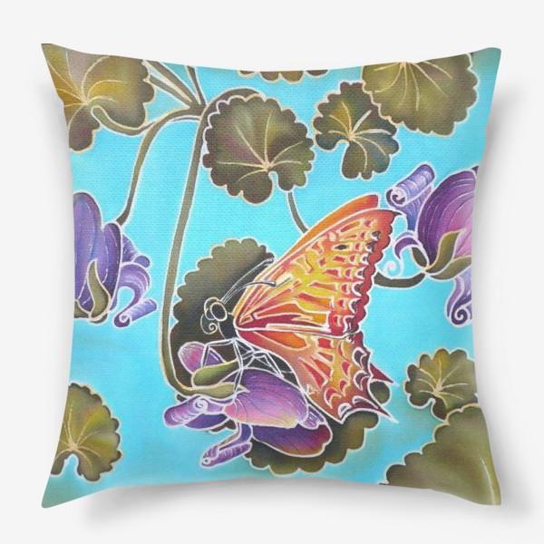 Подушка «Цикламен и бабочка »