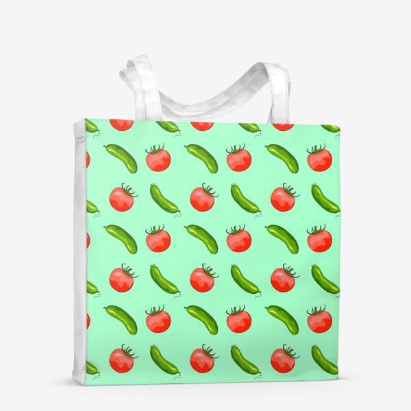 "Сумка-шоппер «Паттерн ""помидорки + огурчики""»"