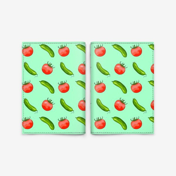 "Обложка для паспорта «Паттерн ""помидорки + огурчики""»"