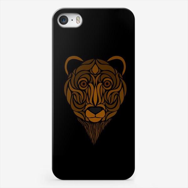 Чехол iPhone «Тотемный Медведь на черном»