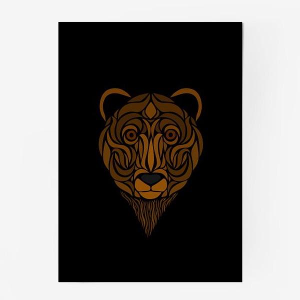 Постер «Тотемный Медведь на черном»