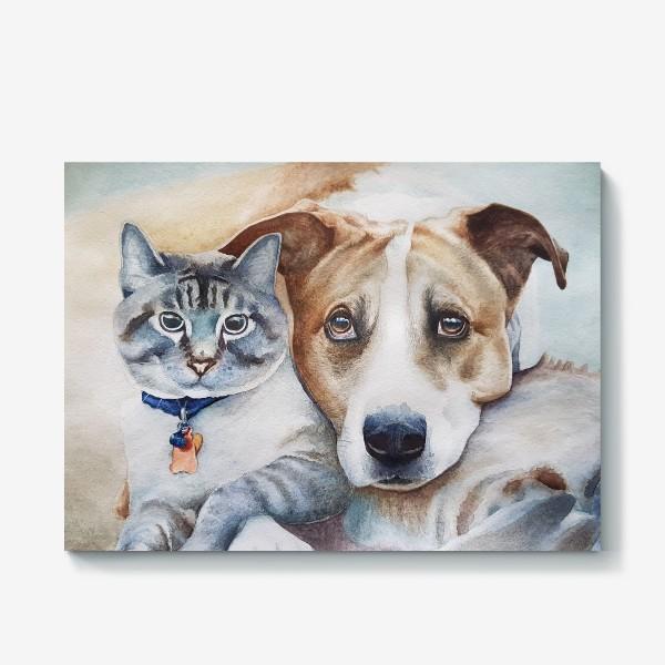 Холст «Кот и собака»