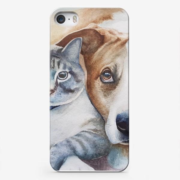 Чехол iPhone «Кот и собака»