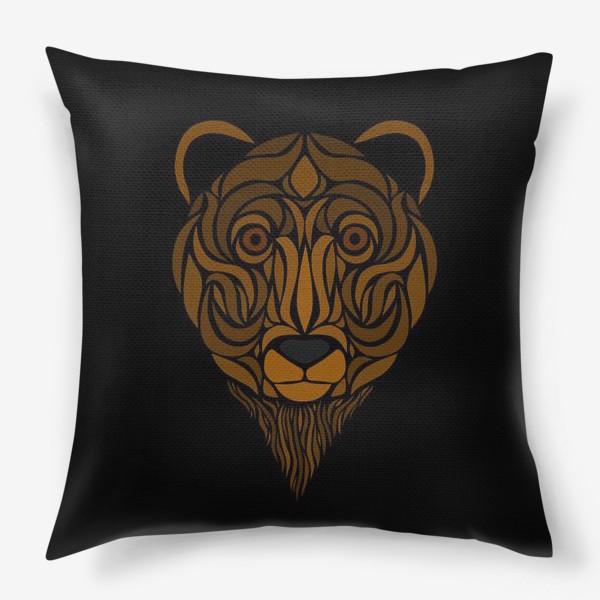 Подушка «Тотемный Медведь на черном»