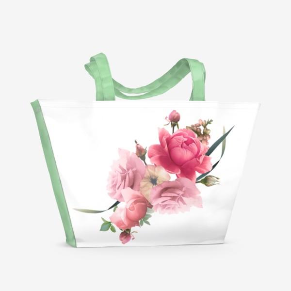 Пляжная сумка «Розы голд»