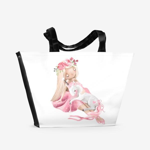 Пляжная сумка «Балерина с единорогом»