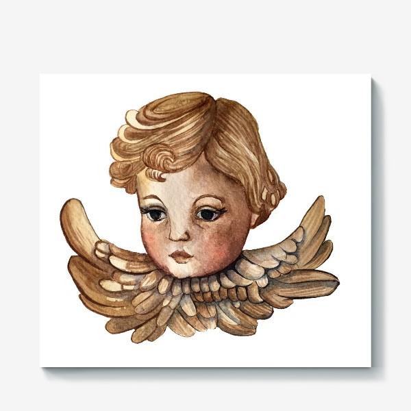 Холст «Путти - винтажный золотой ангел»