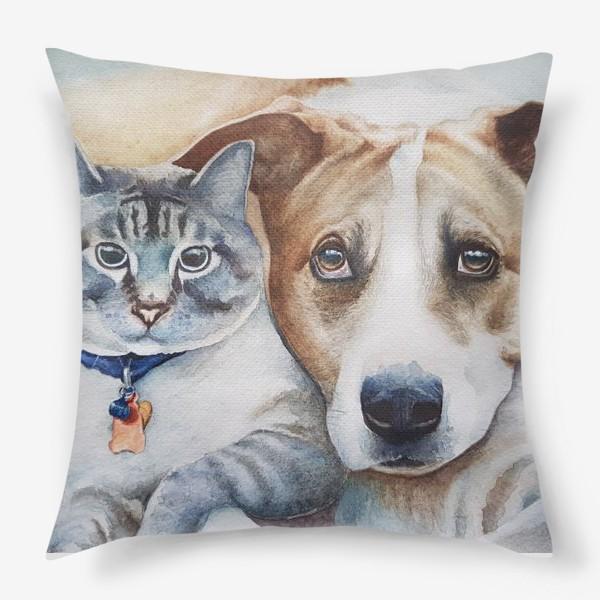 Подушка «Кот и собака»