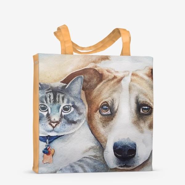 Сумка-шоппер «Кот и собака»