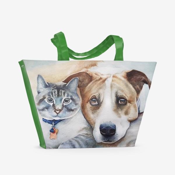 Пляжная сумка «Кот и собака»