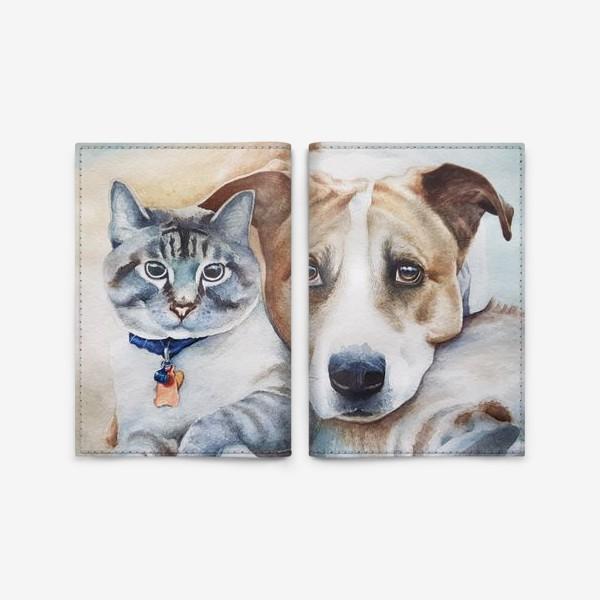 Обложка для паспорта «Кот и собака»