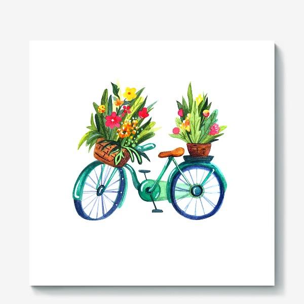 Холст «Велосипед летний акварельный»